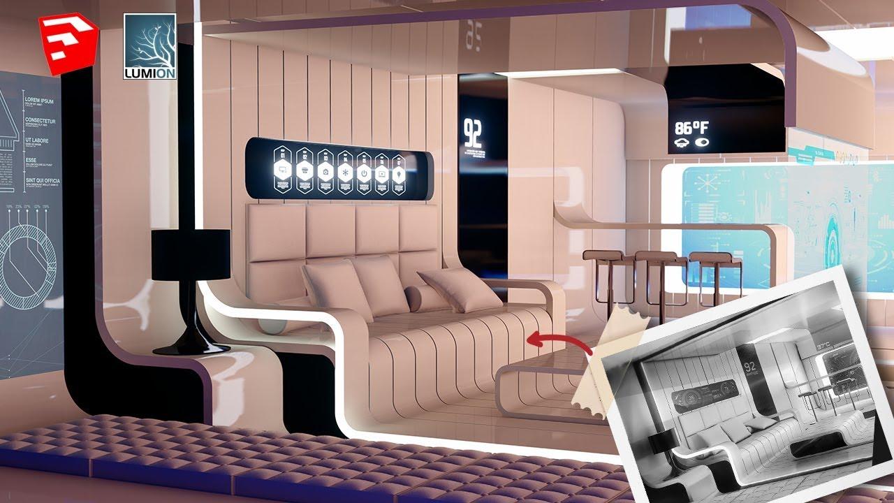 Futuristic Sketchup Interior Design | Sketchup Speed Model