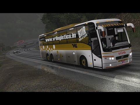 🔴 VRL Travels Indian Volvo Bus [Mumbai - Pune] - Driving in Rainy Ghats Hill Roads - ETS2