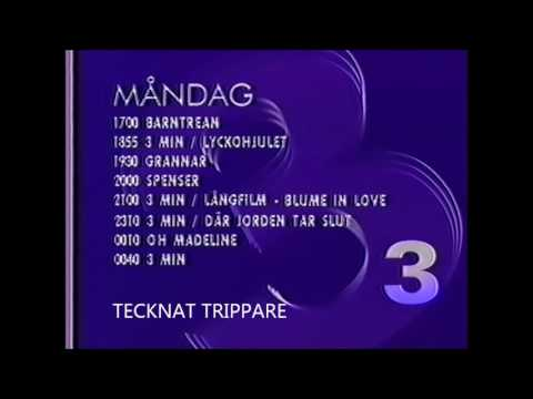 TV3 Tablå 1990 innan Barntrean - (Svenska/Swedish)