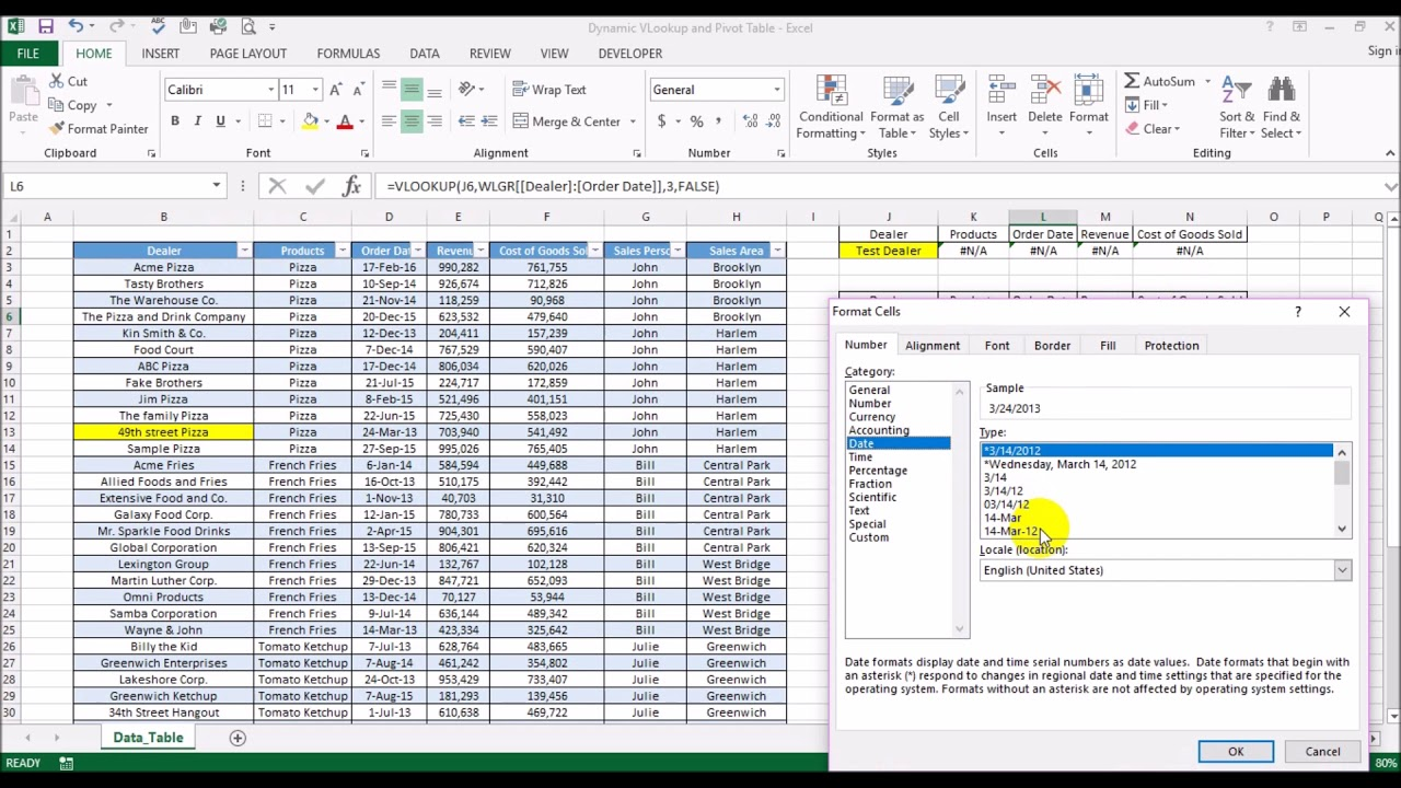 Dynamic Vlookup And Pivot Table