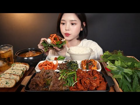 SUB)푸짐한 집밥 먹방 제육볶음 돼지불고기 된장찌개 달걀말이까지 쌈밥 리얼사운드 Korean homemade food Jeyukbokkeum bulgogi mukbang ASMR
