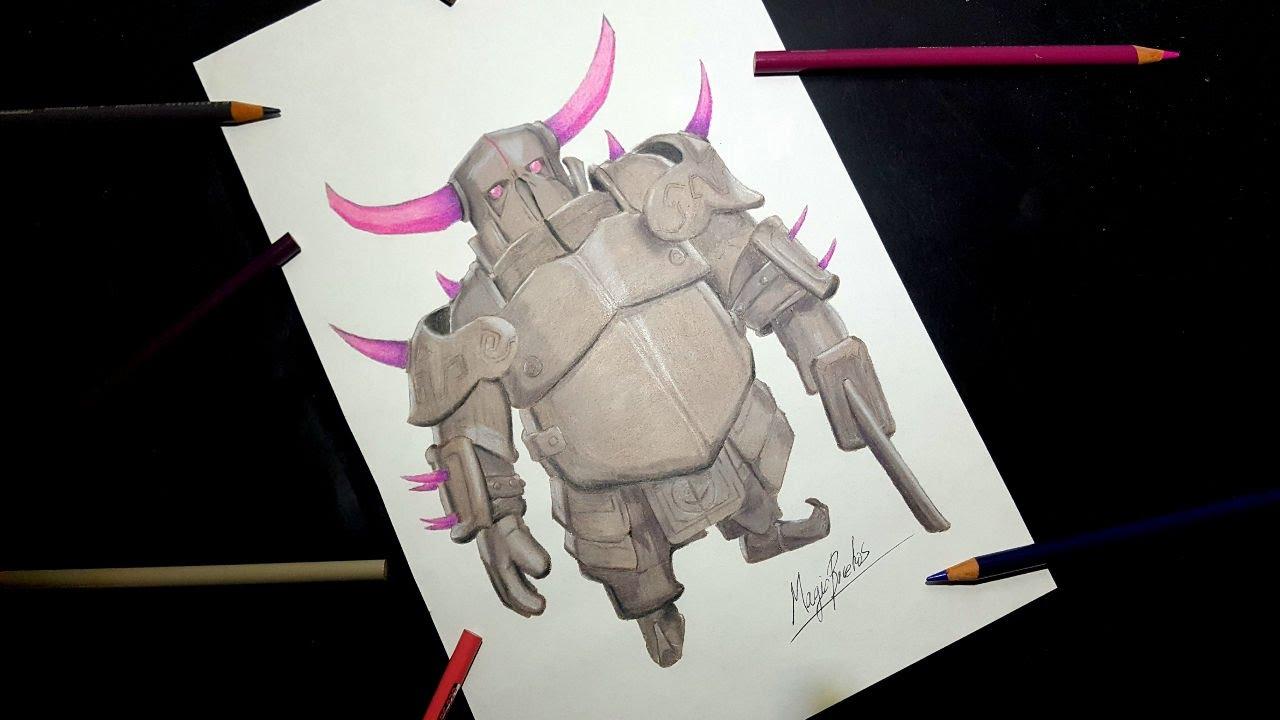 Cómo Dibujar Al P.E.K.K.A De CLASH ROYALE-MagicBocetos