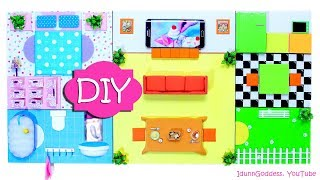 DIY Miniature House - Organizer And Wall Art - How To Make A Flat Functional Dollhouse
