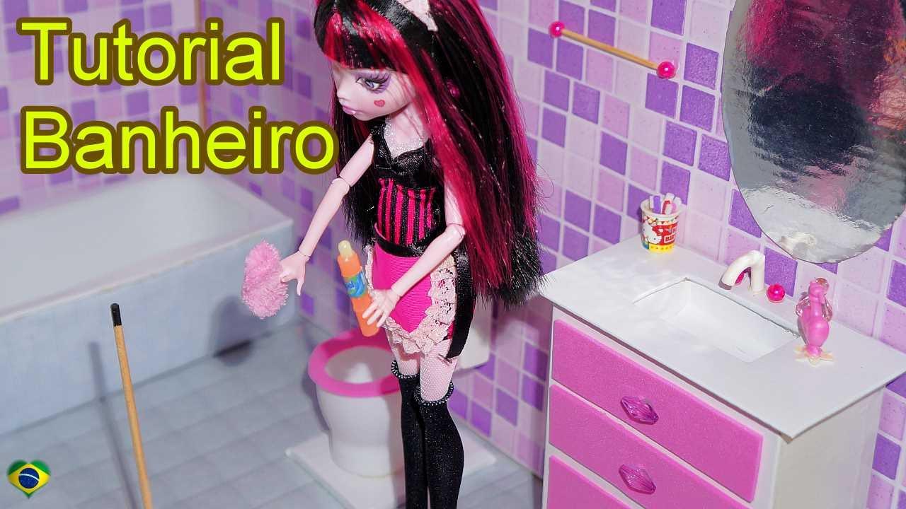 Como fazer um banheiro (balcão e pia) para boneca Monster High, Barbie, Pulli # Como Fazer Pia De Banheiro