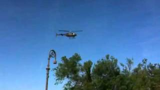 bell oh 58 helicopter hovering in brownsville texas