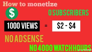how to get money from youtube without 4k watch hours and 1k subscribers||trick to enablemonetization