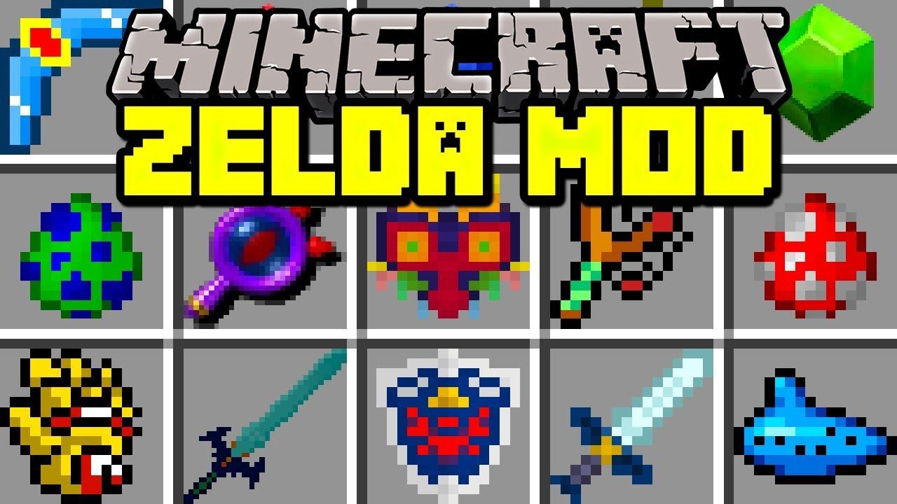 Minecraft ZELDA MOD NEW MASTER SWORD SHIELD BOWS BOSSES