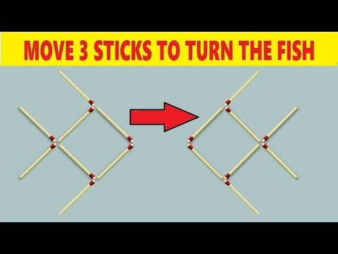 Matchstick Puzzle - Move 3 Sticks To Turn The Fish