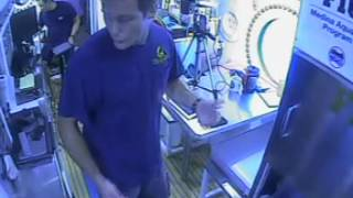 Thomas Pesquet dancing inside Aquarius Reef Base during NEEMO 18