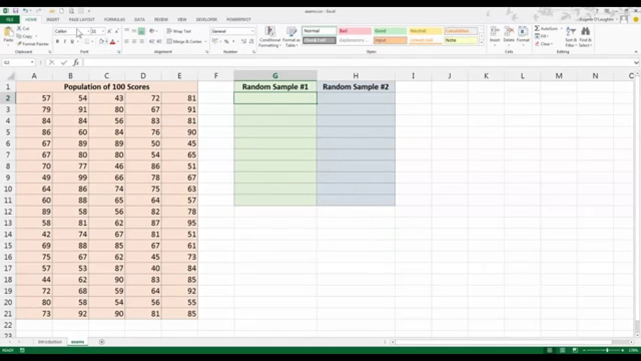 how to create a random data sample in excel 2013 youtube