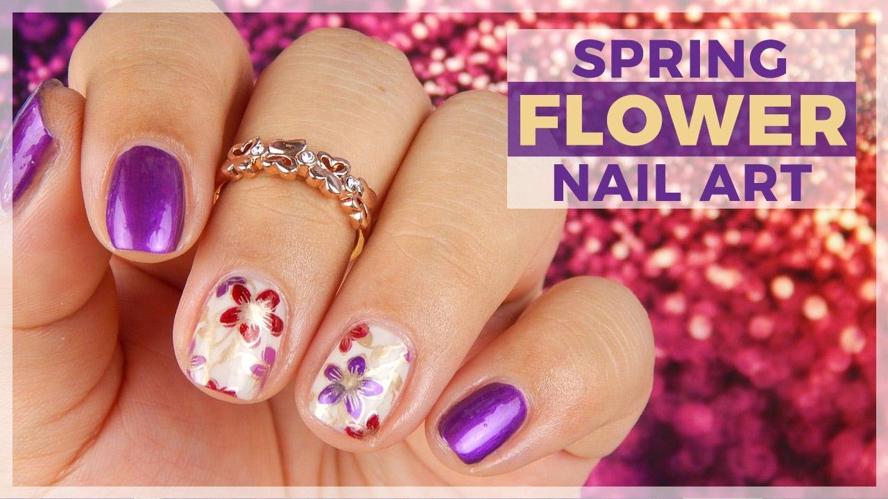 Spring Flowery Nail Art Design Youtube