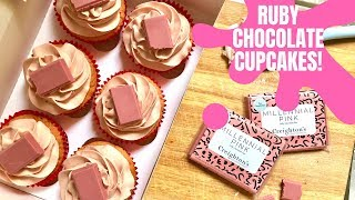BAKING WITH RUBY CHOCOLATE - how to make Ruby Chocolate Cupcakes