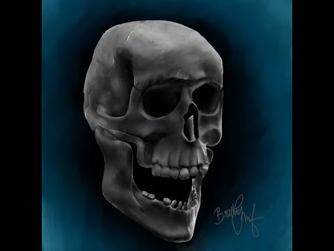 How to Paint A Human Skull   Speed Painting by Art Vibes