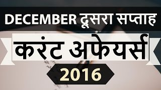 (Hindi) December 2016 2nd week current affairs MCQ (SSC,UPSC,IAS,IBPS,RAILWAYS,CLAT,RRB) GK