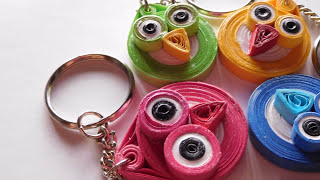 How to make paper quilling Owl keychain? Paper quilling for beginners.