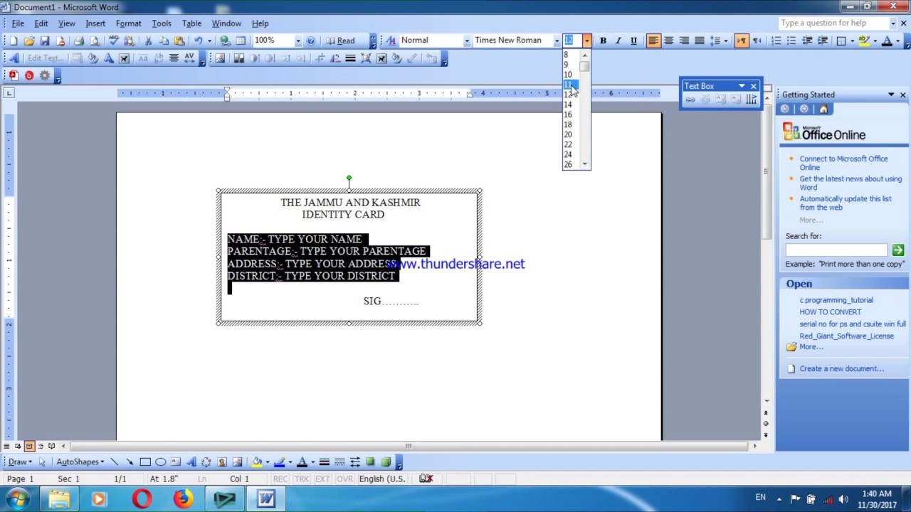 how to create a identity card in ms word