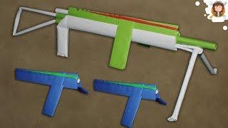 Como fazer uma Metralhadora de Papel  que dispara 12 Elásticos