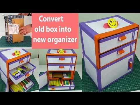 How to make a cardboard DIY desk organizer/ drawer organizer from cardboard boxes.