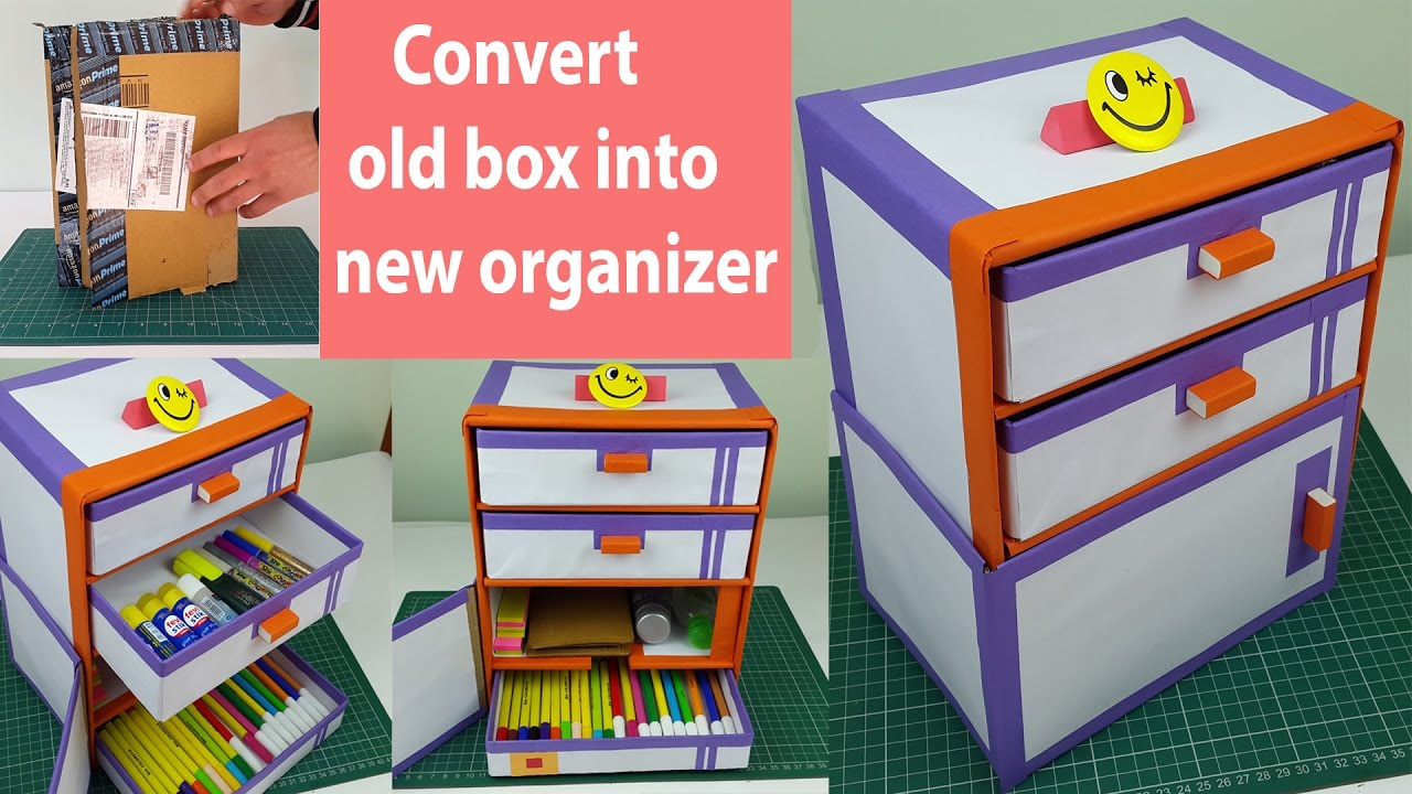 How To Make A Desk Organizer/ Drawer Organizer Out Of Cardboard Boxes.