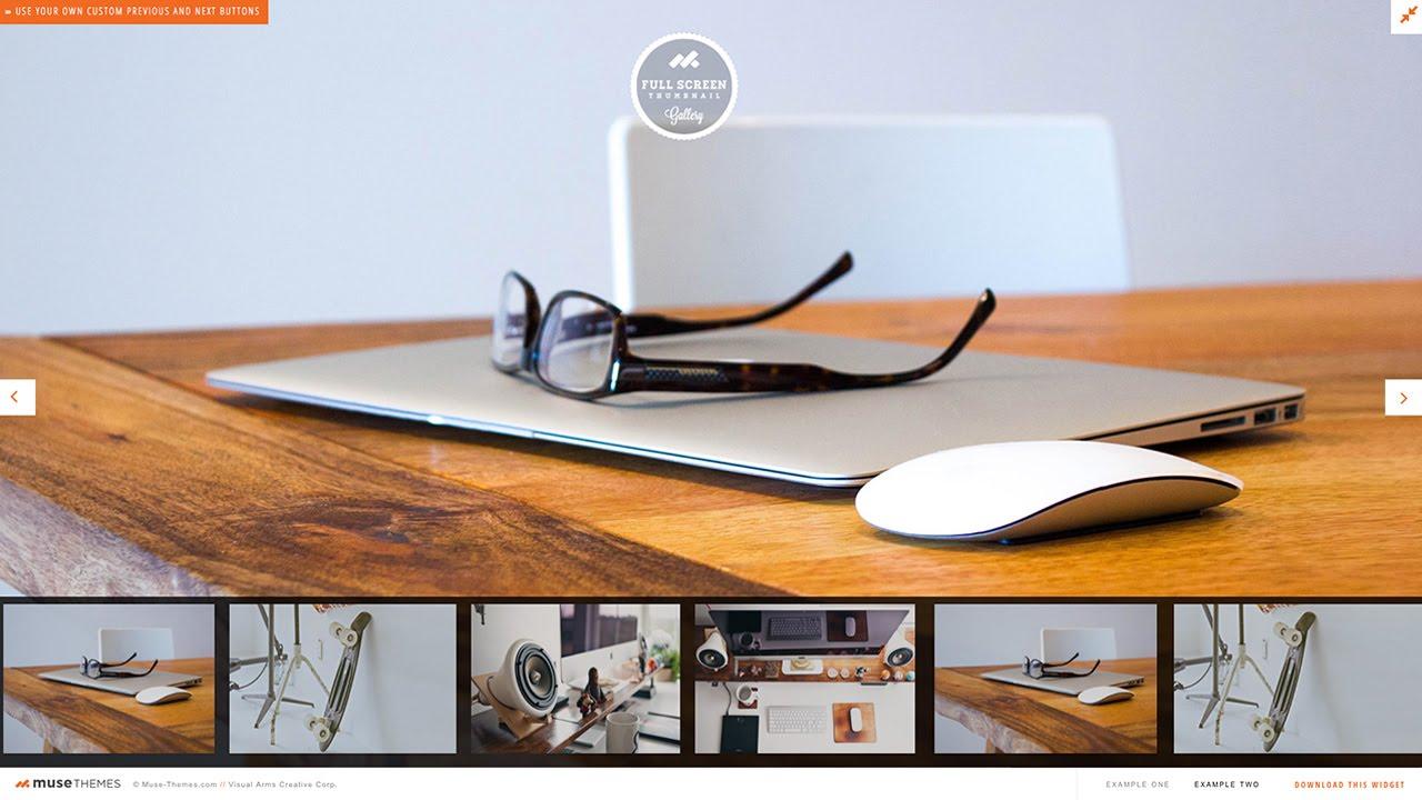 Scrolling Thumbnail Gallery (Fullscreen) - Adobe Muse Widget |  MuseThemes com