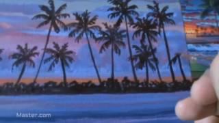 Teknik Melukis pantai tropis dengan Akrilik di atas kanvas