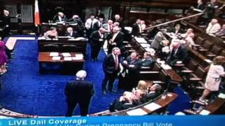 Irish Parliament abortion bill debate- woman pulled onto MP