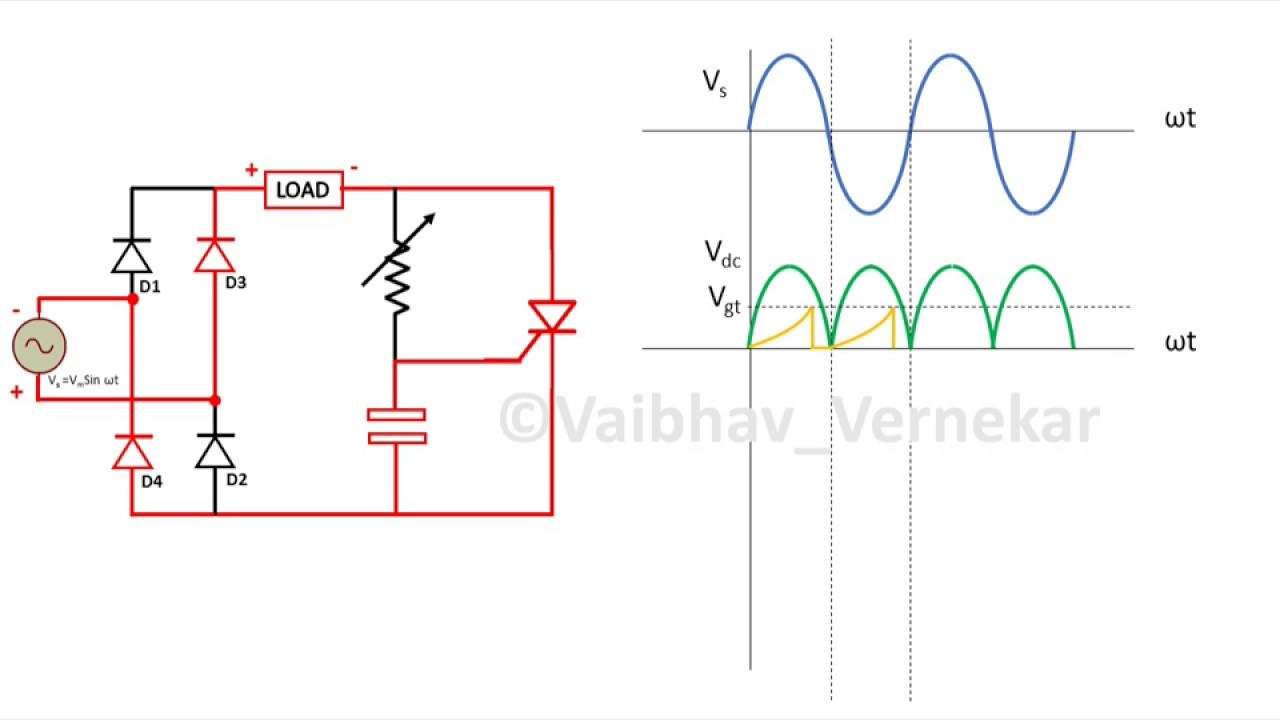 rc firing circuit for thyristor (scr) full wave and graphs Simple Capacitor Circuit