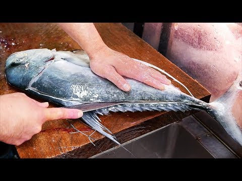 Japanese Street Food - GIANT MACKEREL Okinawa Seafood Japan