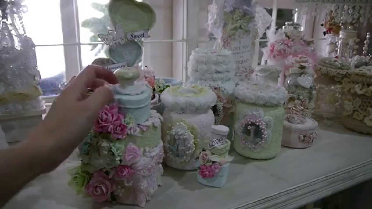 Altered Tilda Shabby Chic Jars With Sand Texture Paste