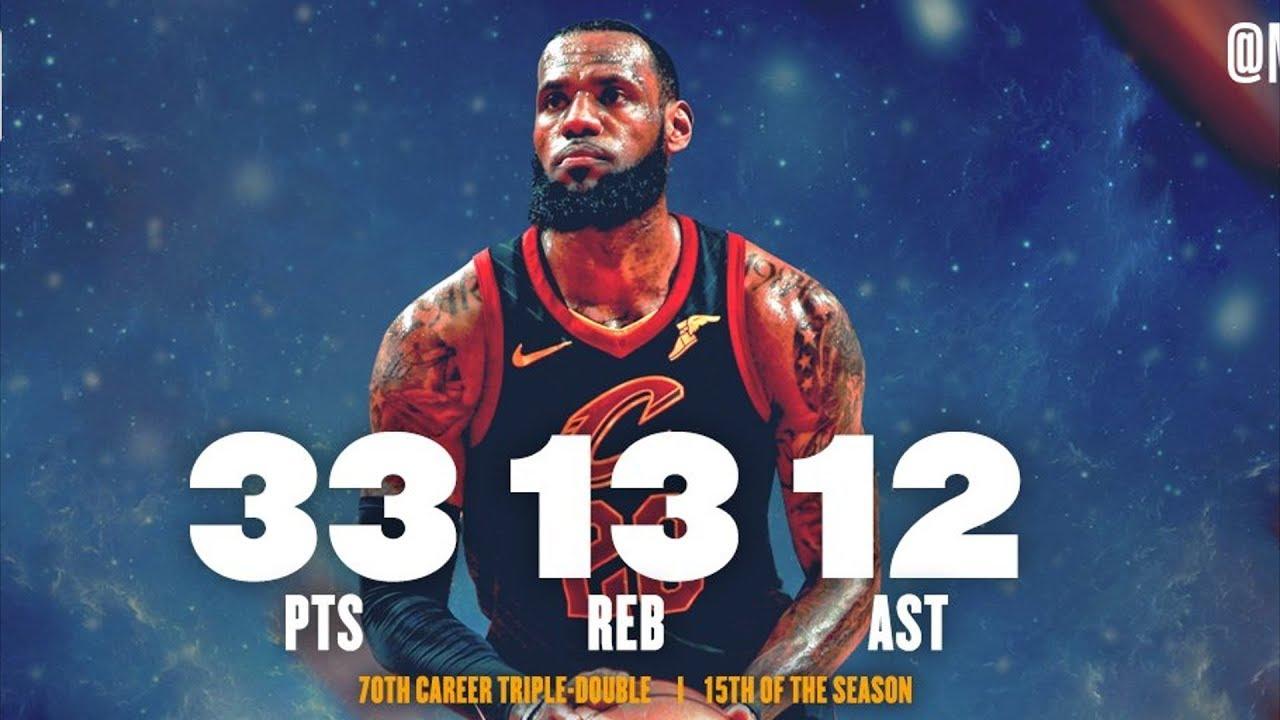 LeBron James 70th Career Triple Double! Blakeney Dunks on Hill! 2017-18 Season
