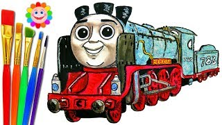 How to DRAW Thomas and Friends Coloring Pages MERLIN Train Video for Children