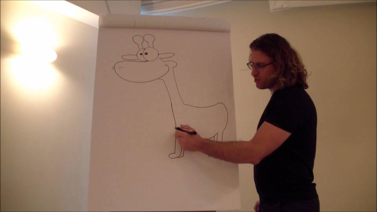 איך לצייר חיות - איך לצייר דמויות מצוירות - איך לצייר ג'ירפה