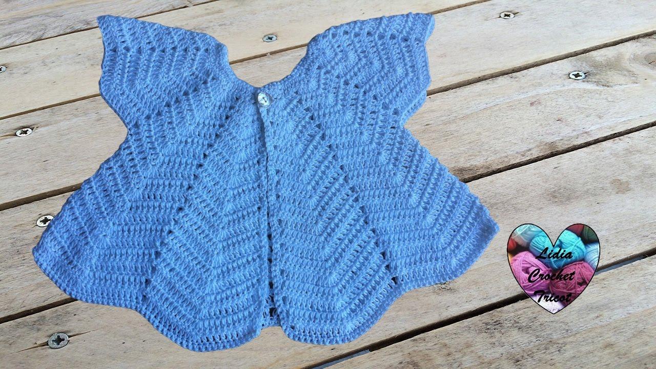 Brassière papillon bébé au crochet 1 2   Chaquetita bebe mariposa a crochet 6014f37d11a