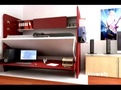 Space up your life with Hiddenbed bed / desk systems - YouTube
