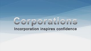Corporations: Incorporation inspires confidence
