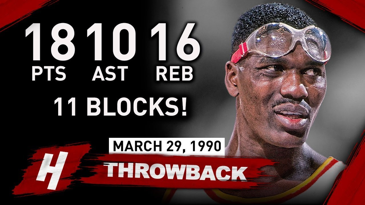 Hakeem Olajuwon EPIC Quadruple Double Full Highlights vs Bucks 1990.03.29 - MAKES HISTORY!