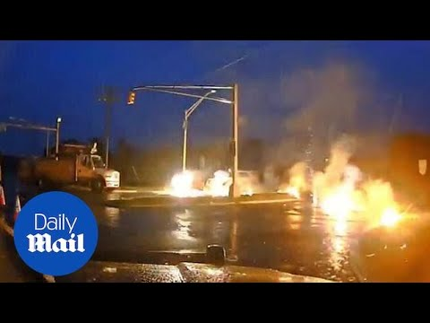 New Jersey utility worker narrowly escapes power line fire