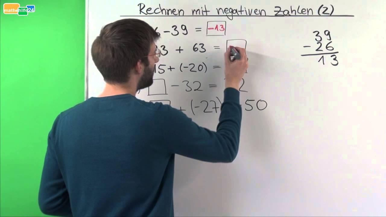 Rechnen mit negativen Zahlen (Ganze Zahlen) - Übung 2 - YouTube