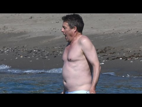 Hugh Grant Looks Ice Cold While Taking a Dip in Spain!