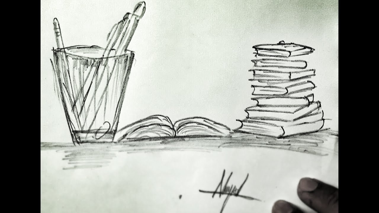 How to draw a glass pencils and books with pencil best pencil drawing art channel