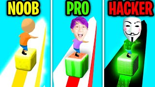 Can We Go NOOB vs PRO vs HACKER In CUBE SURFER!? (ALL LEVELS!)