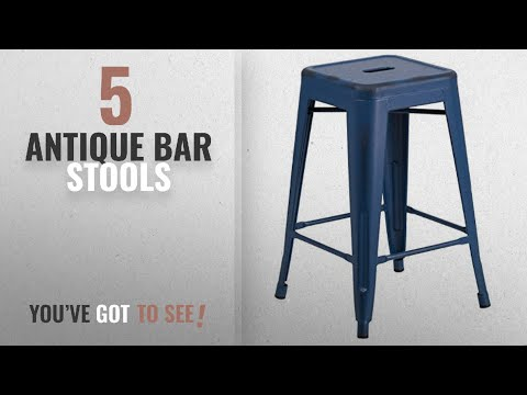 Top 10 Antique Bar Stools [2018]: Flash Furniture 24'' High Backless Distressed Antique Blue Metal