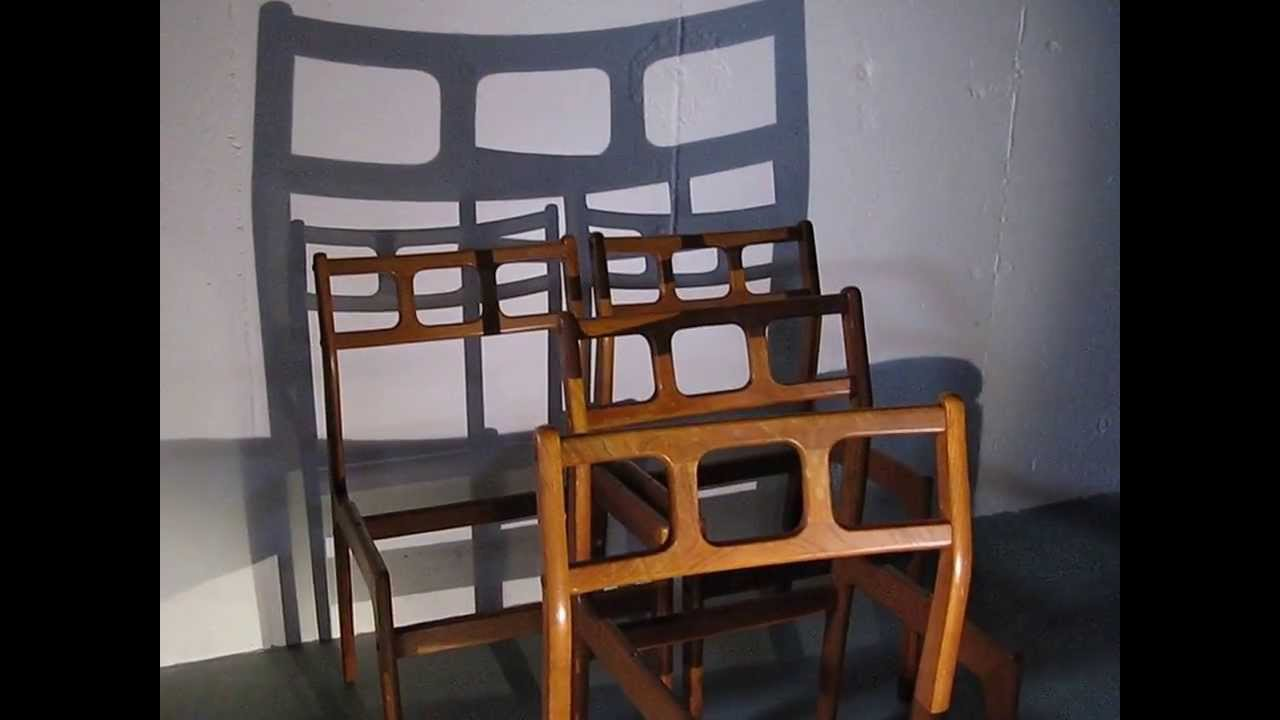 & found Midcentury Modern Danish D-Scan Teak Dining Chairs - YouTube