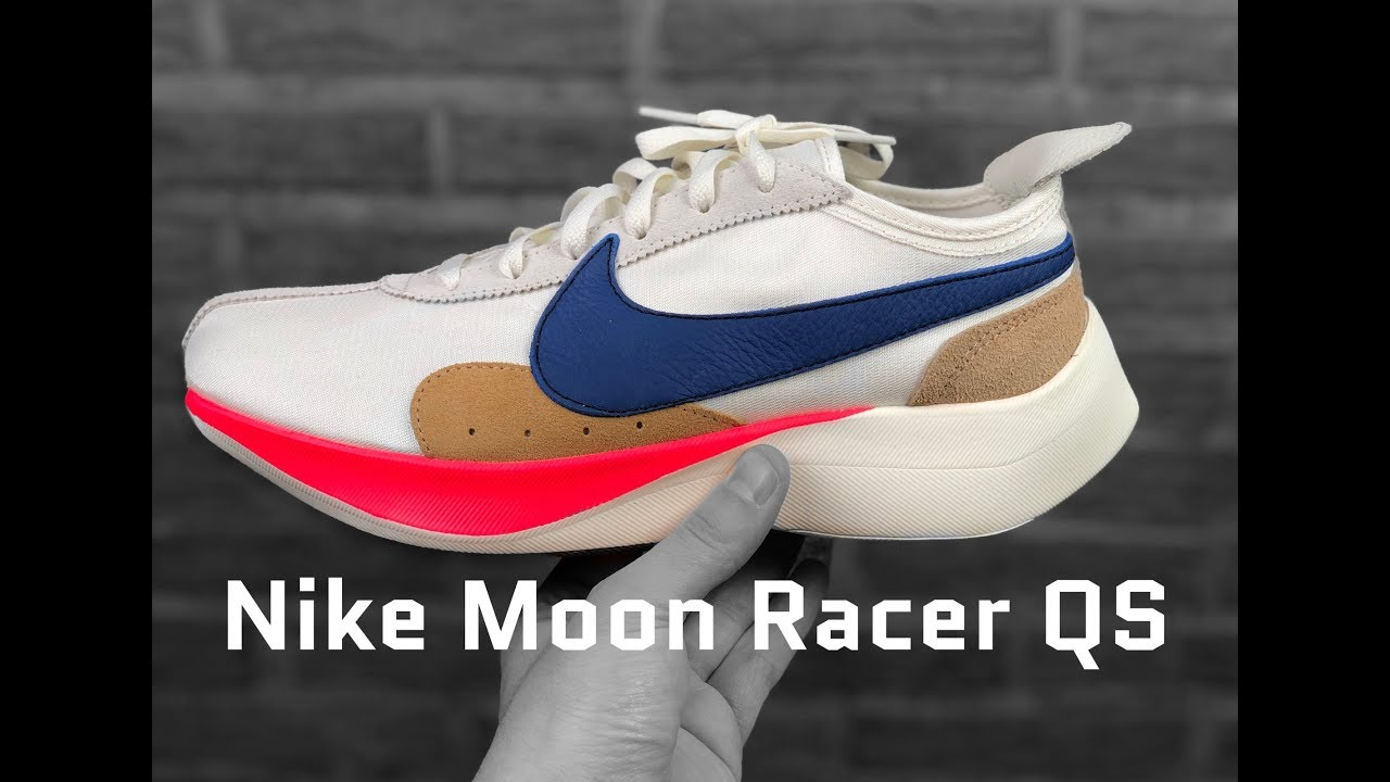 Nike Moon Racer Qs Sail Gym Blue Red Unboxing On Feet Fashion Shoes 2018 Youtube