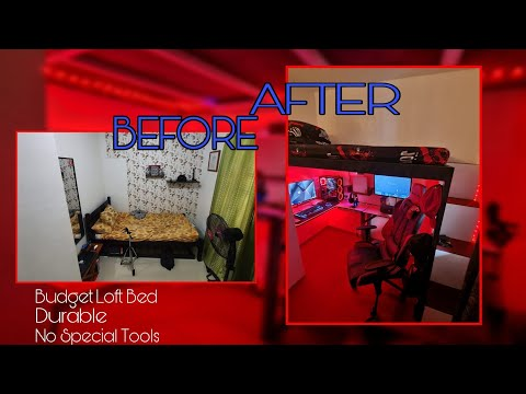 DIY LOFT BED | BUDGET LOFT BED | Small room makeover
