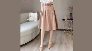 Женская юбка до колен высокая талия шикарный стиль