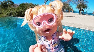 Baby Alive Goes Swimming and Snorkeling ! Toys and Dolls Pretend Play for Kids | SWTAD