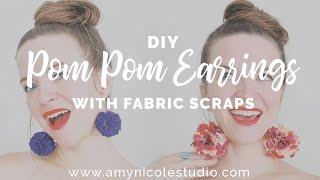 Fabric Pom Pom Black and Grey Fabric Scrap Pom Pom