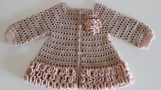 Crochet #12 How to crochet a baby girl's cardigan