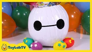 SURPRISE TOYS in a Baymax Halloween Pumpkin & Big Hero 6 Play Doh Surprise Eggs Fun Kids Video